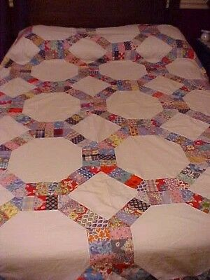 1930/40's Scrappy Wagon Wheel Quilt Top