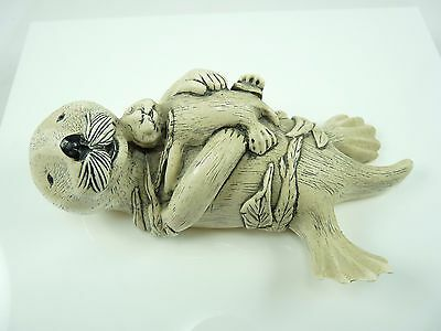 Cute Vintage COOK COMPANY Sea Otter With Pup Sculpture Figurine