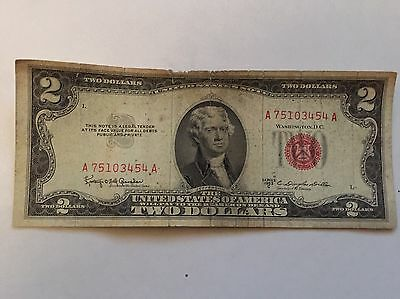 1953 $2.00 Bill Red Seal United States Note, Legal Tender  FREEEEE SHIPPING!!!