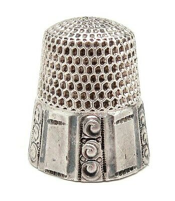 Vintage STERLING SILVER Paneled SCROLL Design Thimble - Size 9