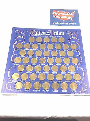 Vintage Shell Gas States of the Union Bronze Coin Complete Set