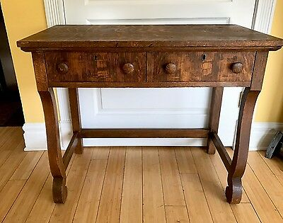 """Antique Empire Style Tiger Oak Two Draw Desk/Table 34"""" Wide x 19""""Deep x 28""""High"""