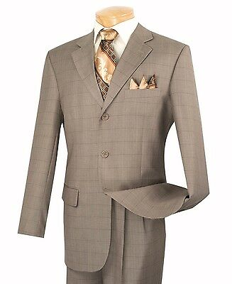 Vinci Men's Tan Windowpane Plaid 3 Button Classic-Fit Suit NEW