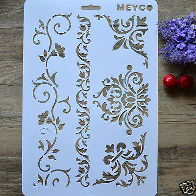 A4 DIY Craft Vine Flower Layering Stencil Painting Template Tool Recycle Mould