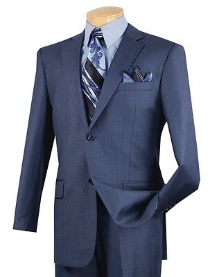 Men's Blue Textured Solid 2 Button Classic Fit Suit w/ Notch Lapel NEW