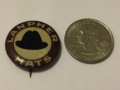 Antique LANPHER Hats Celluloid Advertising Pinback Button Whitehead & Hoag