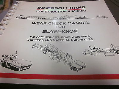 Ingersoll Rand Blaw Knox Wear Check Manual Pavers Finishers Screeds