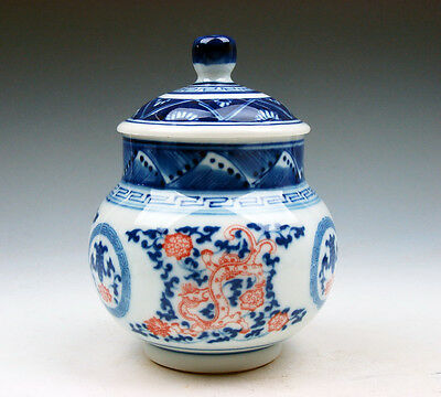 Blue&White Porcelain Red Dragons Flowers Painted Tea Caddy Pot Jar #07211607