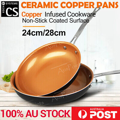 2 sets Ceramic Copper Non-Stick Frying Pan Dishwasher & Oven Safe Fry Cookware