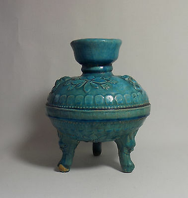 Chinese 19thC Turquoise Color Pottery 3 Feet Unusual Shape Incense Burner