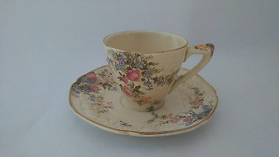 Crown Ducal Rosalie Florentine Shape Demitasse Cup & Saucer Set