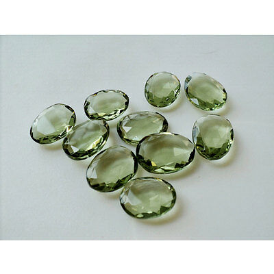 50 Pieces Green Amethyst Color Hydro Quartz Rose Cut Flat Back Cabochon 14-18mm