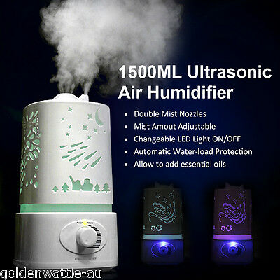 1.5L 7 Colour LED Ultrasonic Air Humidifier Purifier Aroma Diffuser Aromatherapy