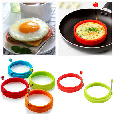 Silicone Nonstick Round Egg Rings Pancake Mold Ring W Handles Fried Frying Hot