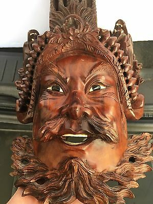 Old Vintage Emperor Carved Rosewood Mask  With Dragons And Much Detail