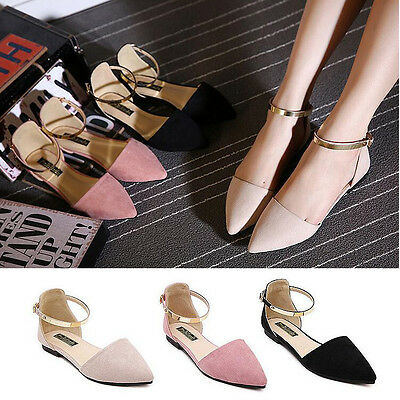 Fashion Spot On Women's Pointed Toe Ankle Strap Pumps Sandals Ballet Flats Shoes