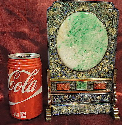 Antique Chinese Table Screen,cloisonne,app. Green Jadeite,carnelian,silver,gold