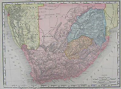 1895 Dated SOUTH AFRICA Map Art Print Decor 19th Century 1800s CAPE TOWN