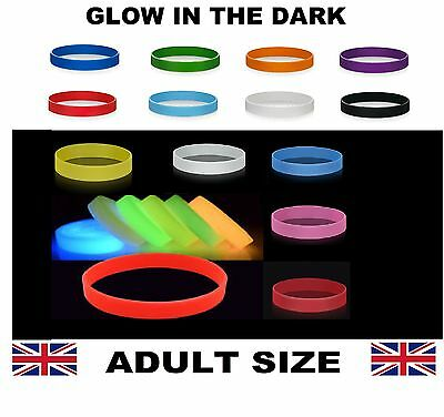Glow In The Dark Silicon Wristbands - Adult - Choose Your Colours - Uk Stock