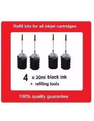 4 x Refill Kits For HP905 HP 905 black ink Cartridges for HP Pro 6970, 6956
