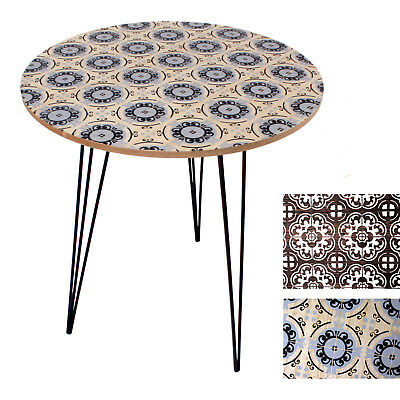 Side table Night table Design table Living room table Retro Floral print ø 40 cm