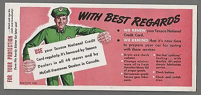 1940's Texaco Ad - Man In Uniform w/ Hat - Neat INK BLOTTER Nice Original Rare
