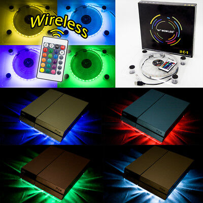 Laptop Notebook PS4 Cooler Cooling Stand USB Fan Pad RGB LED Wireless Remote