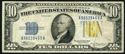 1934A North Africa $10.00 Yellow Seal Neat Old Note Please Lqqk!!!