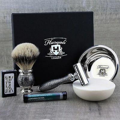 CLASSIC SHAVING SET Ready to Use Silvertip Brush & DE Safety Razor MENS GROOMING