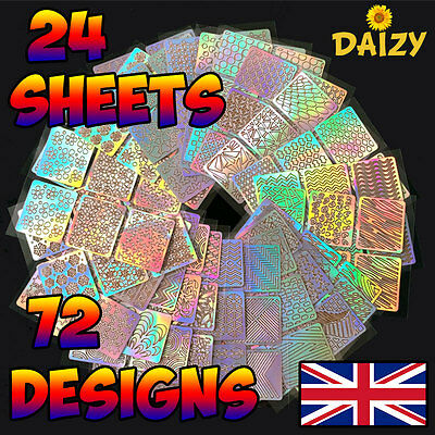 24 Sheets Nail Art Vinyl Manicure Stencils Guide Roses Hearts 72 Designs New Uk