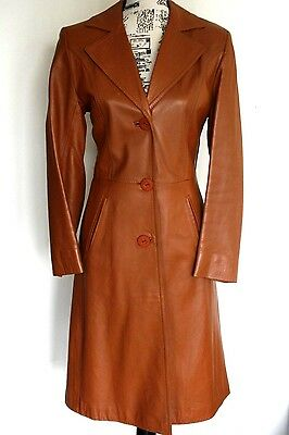 Owen Williams women's vintage leather trench coat size 10-12