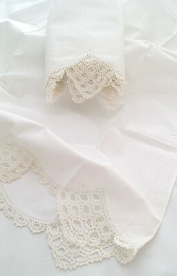 Vintage PAIR Lace Edge Pillowcases Deep Hand CROCHETED SCALLOPED Edge WHITE