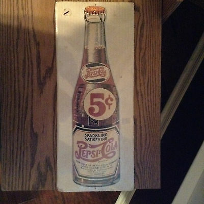 Vintage 1940's Pepsi Cola Wood Soda Fountain Store Display Sign!