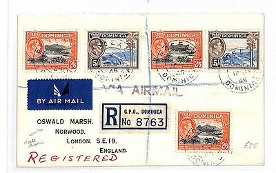 GG24 1946 Dominica London GB Cover {samwells-covers}PTS