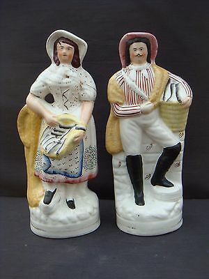 Large Pair Of Genuine Victorian Staffordshire Figure Fisherwoman And Fisherman