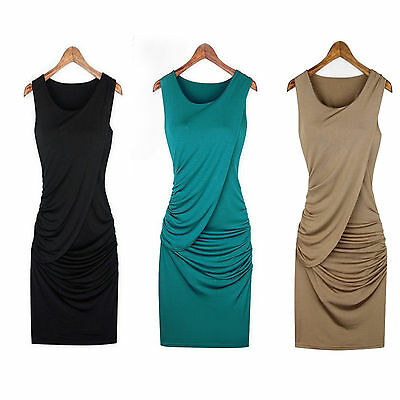 Women Sleeveless Bodycon Work Party Evening Cocktail Mini Formal Summer Dress