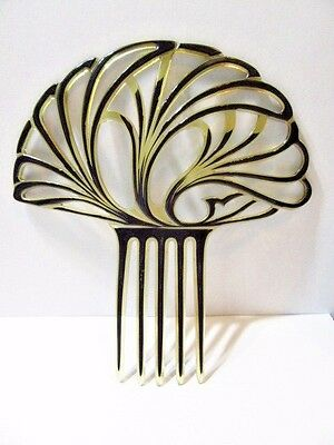 Vintage Hair Comb Celluloid Black And Clear Art Deco Spanish Style