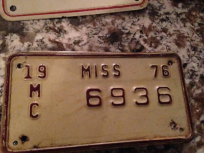 1976 Mississippi Motorcycle License Plate 6936