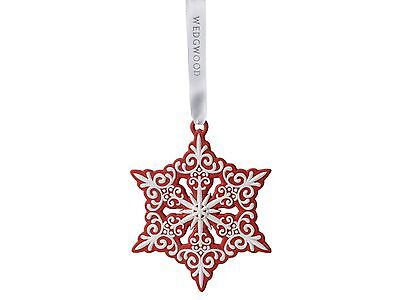 Wedgwood Pierced Snowflake Red Ornament New