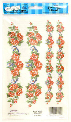 Pink Rose Borders E-Z Rub-On Transfers (Decals) ~ New