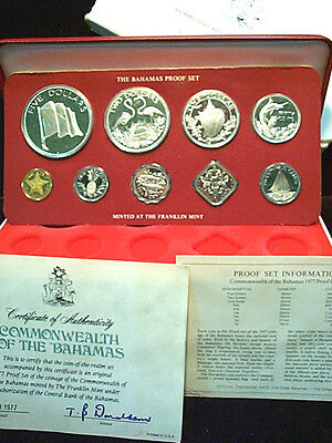Bahamas 1977 Proof Issue, 9 Coin Set, 4 Silver, Sealed Orig. Box w/ COA