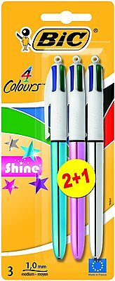 BIC 4 Multi Colour Shine Ballpoint Pen Blue Green Pink Silver Purple 3 Pack