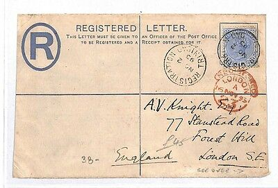 GG2 1893 Trinidad London GB Registered Letter {samwells-covers}PTS
