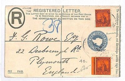GG1 Trinidad Plymouth GB Registered Letter Postal Stationery Cover PTS