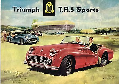 1959 Triumph TR-3 POSTER / Brochure with Spec's :  Export Version, 242/12/58/EXP