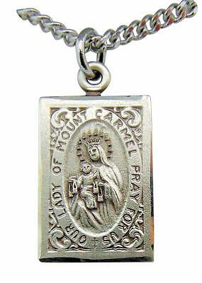 "Sterling Silver Scapular Our Lady of Mount Carmel 7/8"" Medal w/ 18"" Chain USA"