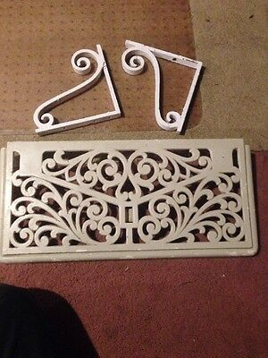"Vintage Cast Iron Metal Shelf With Brackets 10"" X 20"""