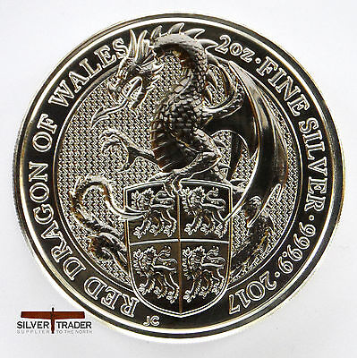 2017 2oz Queens Beasts Welsh Dragon 2 ounce Silver Bullion Coin unc:
