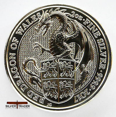 The 2017 Welsh Red Dragon Queens Beasts 2 ounce bullion coin