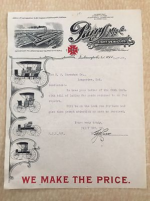 1907 Parry Mfg. Co. - Indianapolis Buggy Carriage Factory Letter - Loogootee
